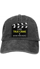I Like True Crime & Maybe Three People Outdoor Men's Baseball Cap Sports and Leisure Adjustable Cowboy Hat Performance Cap Black  B098X7T8SK