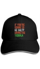 POCKWEEN If You're Going to Be Salty Bring The Tequila Baseball Cap Adjustable Snapback Trucker Hat Dad Cap for Women Men Black  B08HLTT2CL
