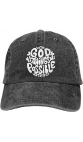 with God All Things are Possible Christian Unisex Soft Casquette Cap Fashion Hat Vintage Adjustable Baseball Caps Fashion Black  B08VJ243W8